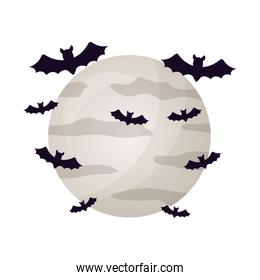 halloween moon with bats isolated icon