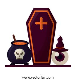 halloween coffin with icons set