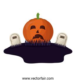 halloween pumpkin and tombs isolated icon