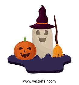 halloween pumpkin with hat of witch and icons