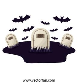 halloween tombs with bats isolated icon