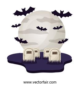 halloween tombs with moon and bats isolated icon