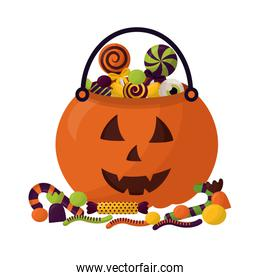 basket halloween pumpkin with candies isolated icon