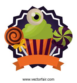 seal stamp of halloween with sweet cupcake and set icons