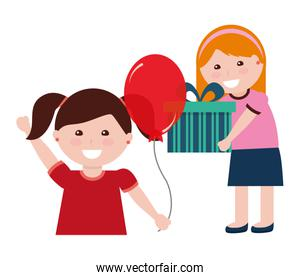 two girl with birthday gift and balloon