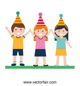 happy boy and girls with party hat birthday