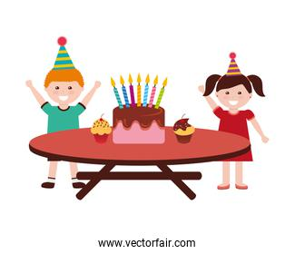 happy boy and girl birthday cake on table
