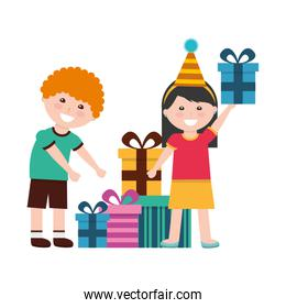 happy boy and girl with birthday gifts celebration