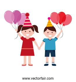 happy boy and girl with birthday balloons