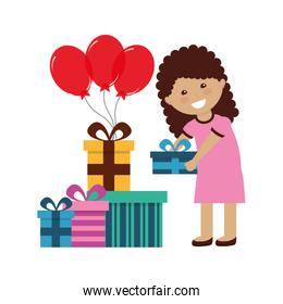 happy girl holding balloons and birthday gifts