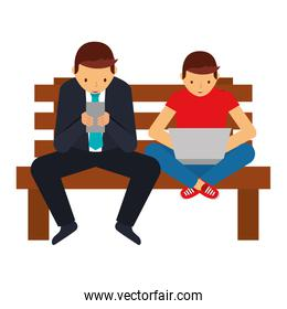 businessman with smartphone and guy with laptop on bench