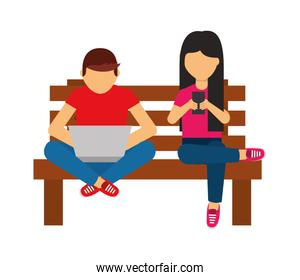 man with laptop and woman cellphone on bench