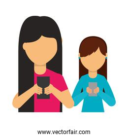 young women using smartphone devices