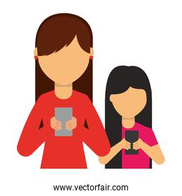 young women using smartphone devices isolated ions