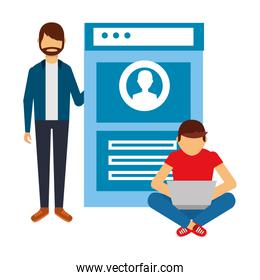 men with web page isolated icon
