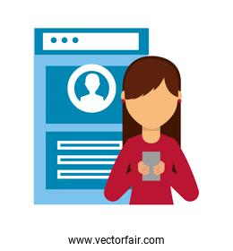web page and young woman and smartphone