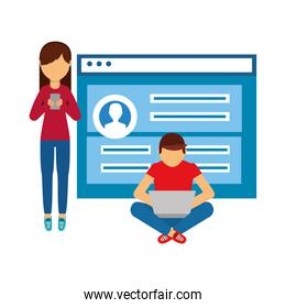 couple with web page isolated icon