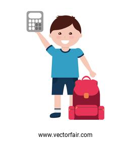 little boy student with school bag and calculator