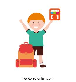 little boy student with school bag and colors