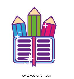 pencils colors with notebook isolated icon
