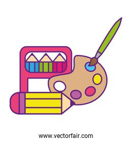 pencils and palette of colors isolated icon