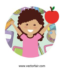little girl student with apple fruit avatar character