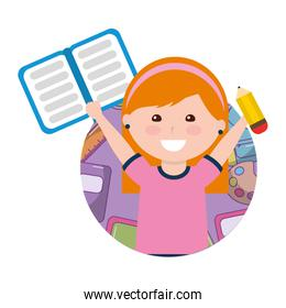 little girl student with notebook and pencil