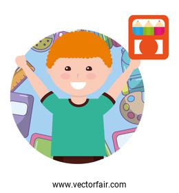 little boy student with box colors avatar character