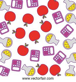 calculator math with apple fruit and tube test pattern