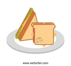 delicious sandwich fast food isolated icon