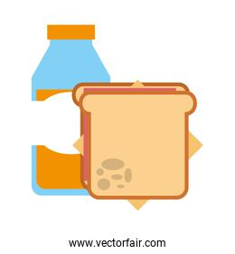delicious sandwich with bottle juice icon
