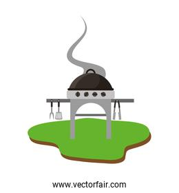 barbeque with grill isolated icon