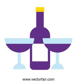bottle wine with cup isolated icon