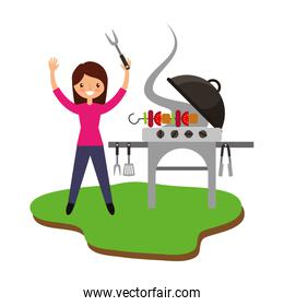 woman in barbeque with grill