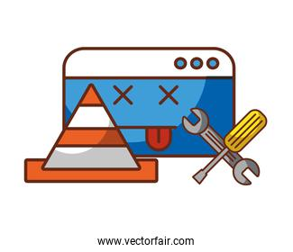 website page traffic cone and tools repair error