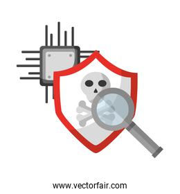 data protection shield danger magnifying glass circuit