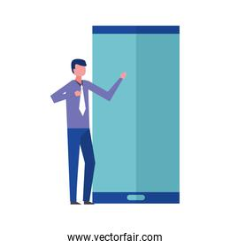 businessman elegant with hand up and smartphone