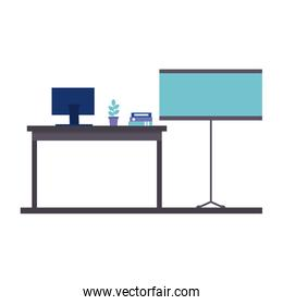 office work place isolated icon