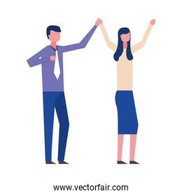 business couple dancing avatar character