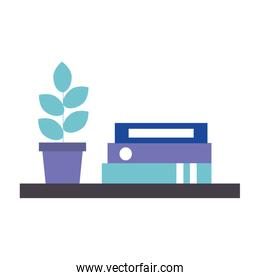 library books with house plant isolated icon