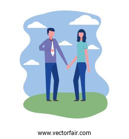 business couple dancing in landscape
