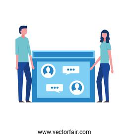 couple faceless with webpage avatar character
