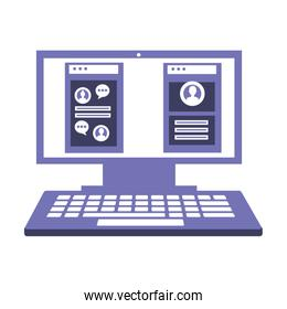 desktop computer with web page isolated icon