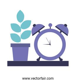 house plant with alarm clock isolated icon