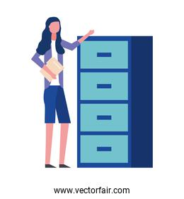 woman holding folder office cabinet drawers