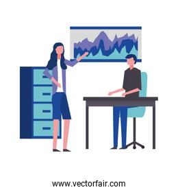 business man and woman meeting showing report
