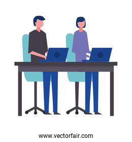 business man and woman office working with laptops