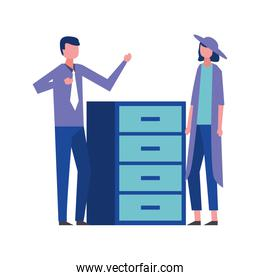 business man and woman office cabinet