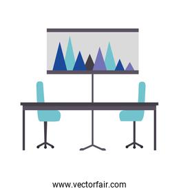 office table chairs and presentation board report
