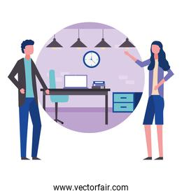 business man and woman office furniture accessories